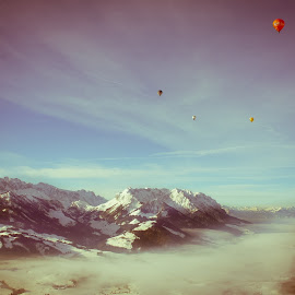 Alpes by Vladimir Firsov - Landscapes Mountains & Hills ( mountains, sky, ballons, skylines, skies, alpes, Earth, Light, Landscapes, Views,  )