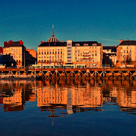 Nantes in water mirror by Dobrin Anca - Buildings & Architecture Other Exteriors ( mirror, sky, nantes, buildings, sun,  )
