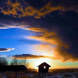 winter storm by Leslie Collins - Landscapes Cloud Formations ( clouds, building, winter, snow, storm, blue, orange. color )