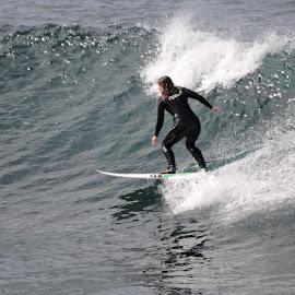 Riding a Wave by Mic Larkins - Sports & Fitness Surfing ( #surfer, #beach, #wave, #bellsbeach, #surfing )