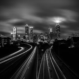The Standard by Bhargava Chiluveru - City,  Street & Park  City Parks ( black and white, light trails, long exposure, cityscape, atlanta, downtown )