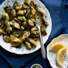 Roasted Brussels Sprouts Recipe with Lemon Mustard Parsley Dressing