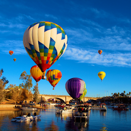 2015 Balloon Festival by Becky McGuire - Transportation Boats ( havasu, aviation, mcguire, vacation, tvlgoddess, arizona, lake, balloon, channel, becky,  )