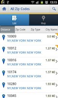 Screenshot of US Zip codes Lite