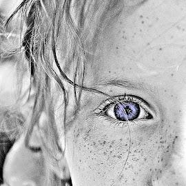 Freckle Face by Susan Plante - Babies & Children Children Candids ( child, b&w, blue, freckles, eye, selective color, pwc )