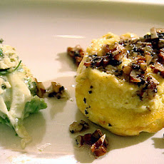 Cheese Souffle with Celeriac, Apple Walnut Salad