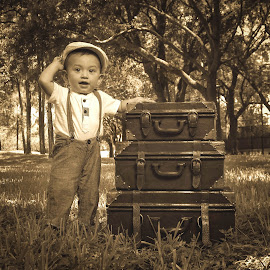Old School by Ricky Cox - Babies & Children Child Portraits ( child, children portrait, sepia, park, suitcase, vintage, children, child portrait, kids portrait, kid, hat )