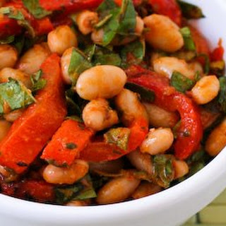White Bean and Roasted Red Pepper Salad with Roasted Tomato-Basil Dressing