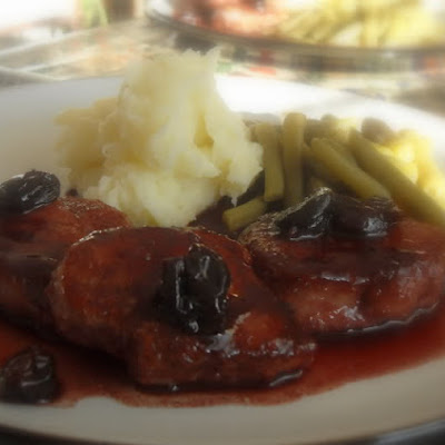 Pork Cutlets with a Port and Cherry Pan Sauce