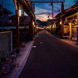 Katsuyama by Sébastien Delbes - City,  Street & Park  Night ( okayama, japan, katsuyama, maniwa, street )