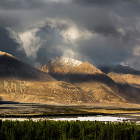 Gathering Storms by Kevin Standage - Landscapes Mountains & Hills ( canon, mountains, hunder, nubra valley, valleys, diskit, kashmir, india, ladakh, landscape )