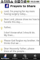 Screenshot of Prayers to Share Donate