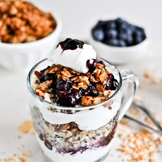 Roasted Blueberry Coconut Quinoa Parfaits with Coconut Granola
