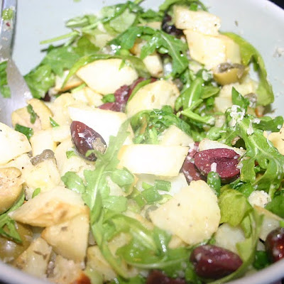 Roasted Potato Salad with Wilted Arugula and Parmesan