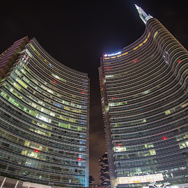Skyscaprer by Kevin Spagnolo - Buildings & Architecture Architectural Detail ( milan, skyscraper, night, italy, milano )