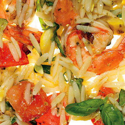 Orzo with Grilled Shrimp, Summer Vegetables, and Pesto Vinaigrette
