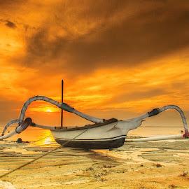 Alone at morning day by Made Geriaputra - Transportation Boats