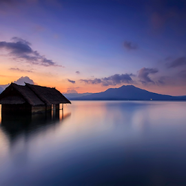 Old Shack by Yudik Pradnyana - Landscapes Sunsets & Sunrises ( bali, mount, waterscape, batur, sunset, cloud, landscape )