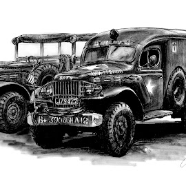 Vintage Dodge Military Trucks by Oliver Cook - Drawing All Drawing ( pen, army, world war 2, charcoal, ambulance, transport, vintage, truck, vehicle, classic, ink, military )