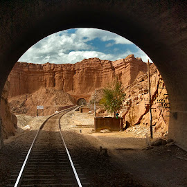 Where does the rabit hole go to ? by Agha Ahmed - Landscapes Travel ( hills, mountains, railroad tracks, railway, railroad, landscape photography, tracks, landscape, engineering, tunnel,  )