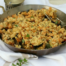 Roasted Aubergine, Courgette And Mushroom Crumble