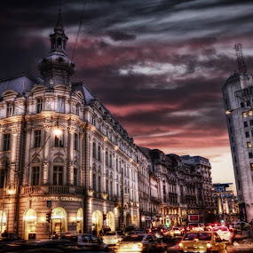 Night in BucharestPhoto by Dimityr Chobanov by Димитър Чобанов - City,  Street & Park  Night ( bucharest, building, night, romania, town, city )