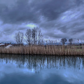 by Stratos Lales - Landscapes Weather ( water, reflection, sky, village, plants )