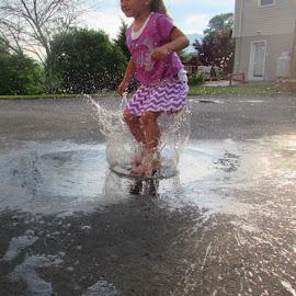Splash! by Haley Dawn - Babies & Children Children Candids ( playing, water, girl, splash, summer, puddle, niece, kid,  )