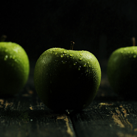 All Green by Vineet Johri - Food & Drink Fruits & Vegetables ( water, vkumar, three, dark background, green apple, bokey )
