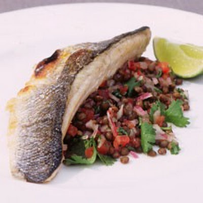 Sea Bass with Puy Lentil Salsa