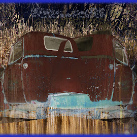 Ghost Truck by Joerg Schlagheck - Digital Art Things ( surreal., old, ghost truck, spooky, ghosts, rusty, illusion, double )