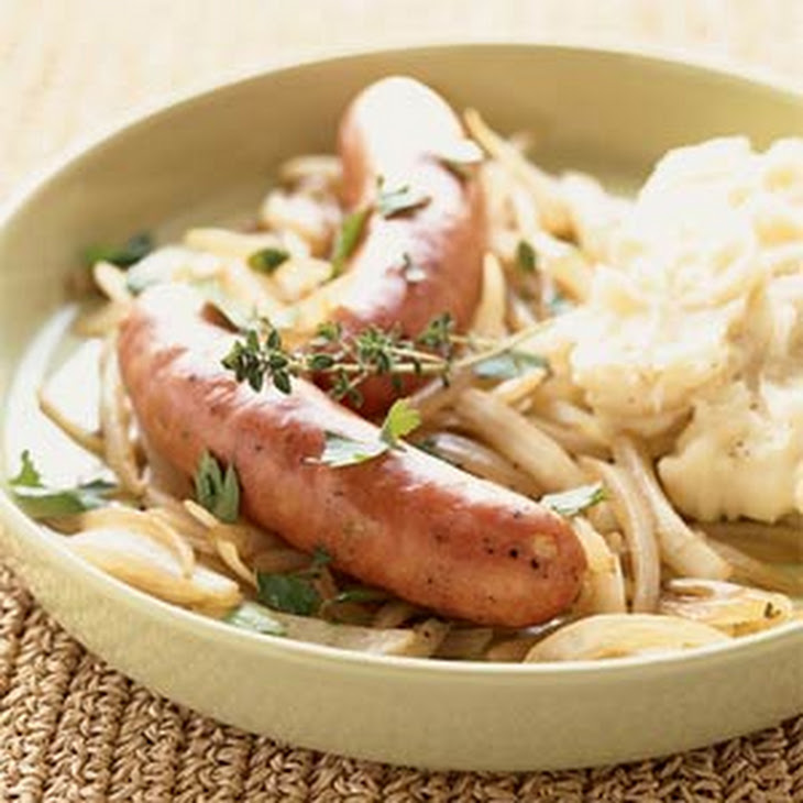 Roasted Sausages with Beer-braised Onions