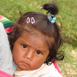I Don't Know You by Lew Davis - Babies & Children Children Candids ( babies, girls, bolivian child, little girl, shy, kids, toddlers, lew davis, kid, andes, child, children girl, bolivian girl, baby, bolivia, toddler, Emotion, portrait, human, people )