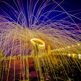 Sparks At Dawn III by Adrian Choo - Abstract Light Painting ( dawn, light painting, steel wool, penang 2nd bridge, sparks, light )