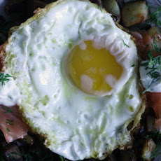 Smoked Salmon and Dill Hash with Fried Eggs