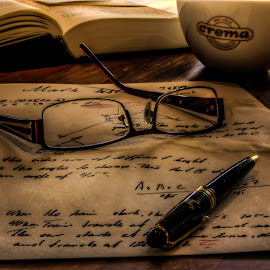 Tired teacher by Sondre Gunleiksrud - Digital Art Things ( canon, pencil, school, glasses, hdr, paper, 50mm, teacher,  )