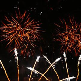 Men under fire by Nicu Buculei - Abstract Fire & Fireworks ( sky, fireworks, night, fire, city )