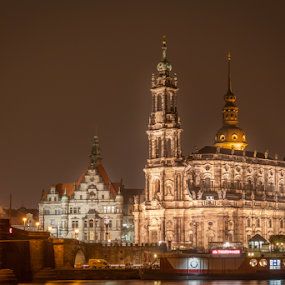 Cathedral of the Holy Trinity by Anita  Christine - Buildings & Architecture Public & Historical ( deutschland, church, germany, dresden, cityscape, light, dresden 2014, nightscape,  )