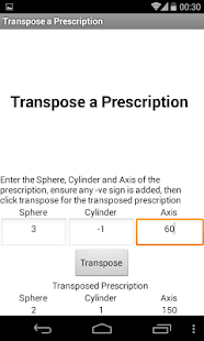 Transpose a Prescription - screenshot