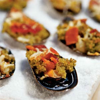Baked Mussels with Pesto Breadcrumbs