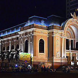 Opera House at night Saigon, Vietnam by Andrew Piekut - City,  Street & Park  Historic Districts