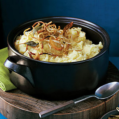 Mashed Potatoes and Parsnips with Crisp Root Vegetable Strips