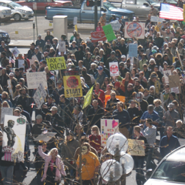 Occupy Denver March From Above by Chris Goodwin - News & Events Politics ( politics, march, 99%, protest, occupy wall street, occupy, people, crowd, humanity, society )