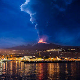 Big Explosion from volcano Etna by Fabio Caltabiano - Landscapes Waterscapes ( water, reflection, volcano, lava, explosion, magma, sea, big, fire, etna )
