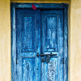 Gateway by Pranay Suyash - Buildings & Architecture Other Exteriors ( old wooden door, blue, wooden door, door, blue door, gate,  )