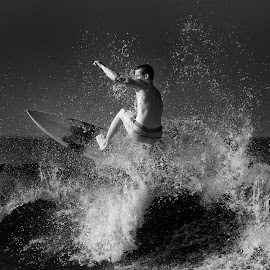 On a Tear by Hali Sowle - Sports & Fitness Surfing ( ir, 2nd beach, surfing, sachuest beach, rhode island, infrared, ri, hurricaine swell, middletown )