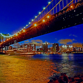 THE NIGHT WE FELL IN LOVE by Kendall Eutemey - Buildings & Architecture Bridges & Suspended Structures ( brooklyn bridge, kendall eutemey, night lights, waterscape, reflections, manhattan, new york,  )