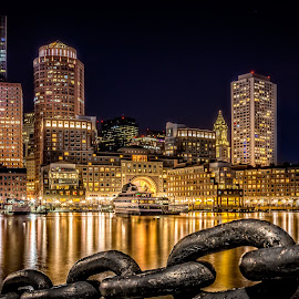 Boston Skyline @ Night by Matt Reynolds - City,  Street & Park  Skylines