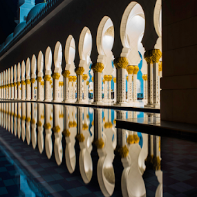 Pillars of Sheikh Zayed Mosque by Aamir Munir - Buildings & Architecture Places of Worship ( lights, water reflection, night photography, mosque, abu dhabi, sheikh zayed mosque, pillars )