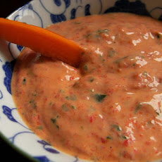 Guilt Free Creamy Roasted Red Pepper & Basil Dip (Low Fat)